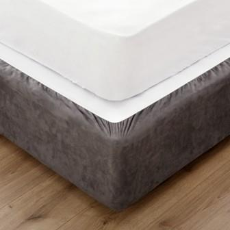 Miss Lyn Fitted Bed Base Wraps Grey Faux Suede