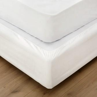 Miss Lyn Fitted Bed Base Wraps White Faux Suede