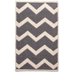 Miss Lyn Zigzag Handwoven 60x80cm Rugs Dark Grey 100% Cotton
