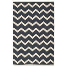 Miss Lyn Zigzag Handwoven 120x180cm Rugs Navy Blue 100% Cotton