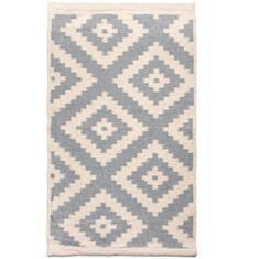 Miss Lyn Diamond Handwoven 60x80cm Rugs Light Grey 100% Cotton