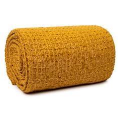 Miss Lyn Honeycomb Throws Mustard 100% Cotton